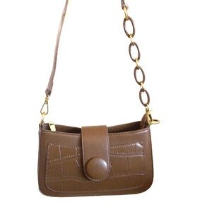 Brown Faux Leather Crossbody Bag Chain Strap New